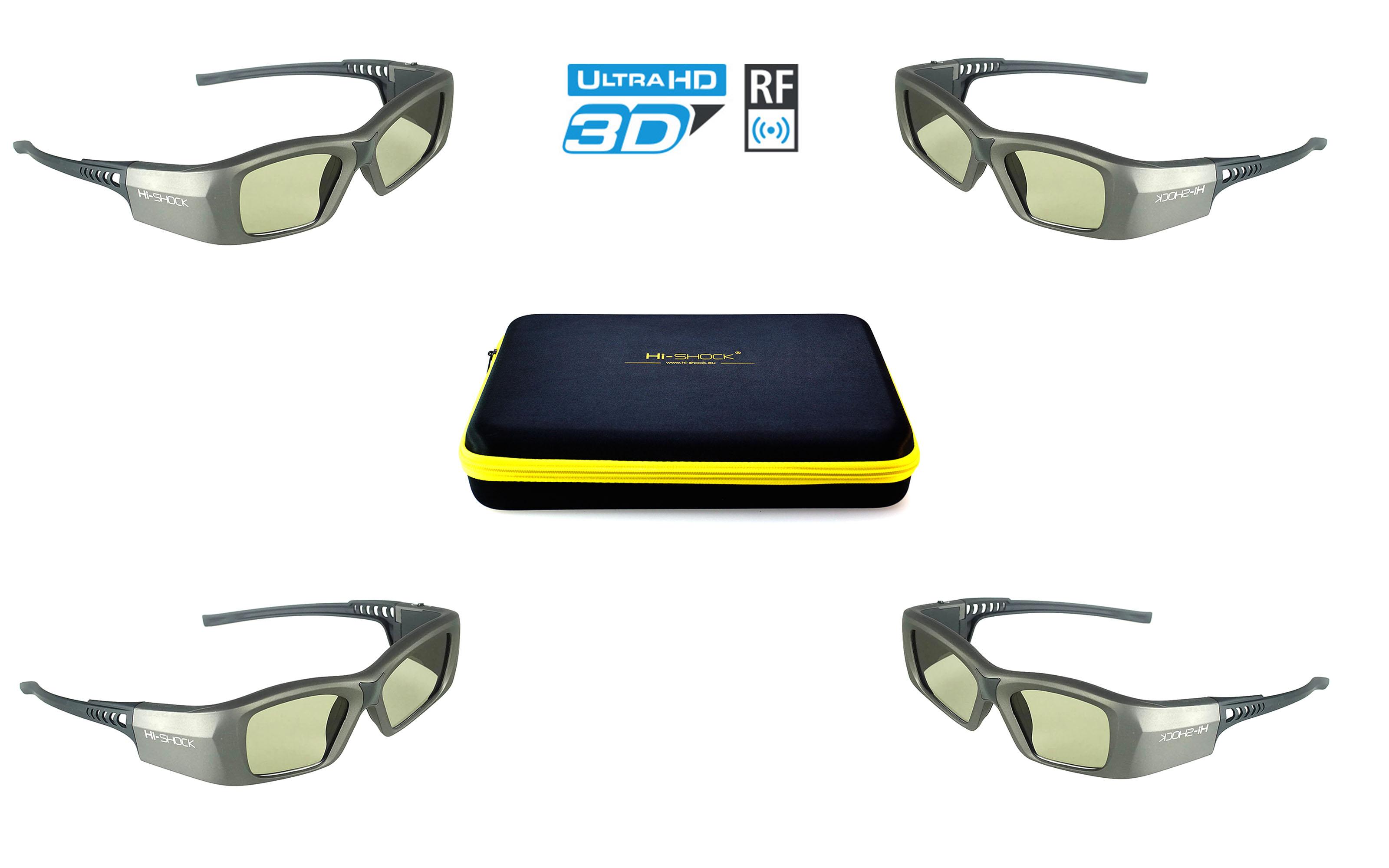 "4x Hi SHOCK RF Pro ""Oxid Diamond"" RF 3D glasses bundle for EPSON JVC SONY RF 3D projector"